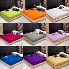 Bed Fitted Sheet Cotton Pillowcase Deep Pocket Solid Color Twin Full Queen King image