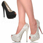 WOMENS LADIES PEEP TOE PLATFORM HIGH HEEL GEMS WEDDING SANDALS SHOES SIZE 5 38