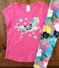Gymboree Size 4 5 10 Pink Horse Top & Floral Leggings Outfit Glitter Girls New