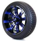 "Golf Cart Wheels and Tires Combo - 14"" Black/Blue Tempest SS - Set of 4"