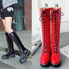 Womens Ladies Leather High Block Heel Shoes Lace Up Oxford Army Mid calf Boots