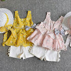 3PCS Toddler Baby Girl Floral Sleeveless Vest T-shirt+Pants+