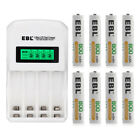 Lot EBL 800/1100/2300/2800mAh AA AAA NI-MH Rechargeable Batteries / LCD Charger