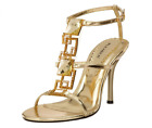 Enchant-25 Gold PU Sandals Pleaser USA