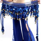 3 Rows Belly Dance Costume Hip Scarf Tribal Hip Belt Skirt Silver Gold Coins US