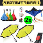 2x Double Layer Upside Down Inside Inverted Umbrella Windproof C-Handle
