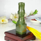Natural Jade Bamboo Carving Seal DIY Sculpture Name Stone Jade Seal Craft Gift image