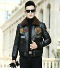 Men Real Cow Leather Fashion Pilot Jacket Padded Cotton Casual Coat Winter Warm