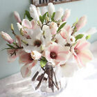 Decoration Bouquet Home Artificial Fake Flowers Magnolia Floral Leaf
