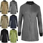 Womens LongLine Contrast Cuff Ladies Suede Zip Up Tunic Jacket Uk Plus Size 8-22