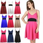 Womens Ladies Contrast Middle Panel Bandeau Bra Bralet Strappy Mini Skater Dress
