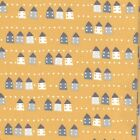 Cottages - Yellow White Grey - 100% Cotton Fabric Dressmaking Quilting