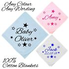STARS 100% COTTON BLANKET PERSONALISED ANY NAME DATE BABY SHOWER GIFT BOY GIRL