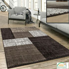 Modern Large Small Rugs Soft Floor Check Mats Geometric Design Brown Beige Rugs