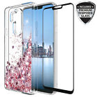 For LG G7 Thinq Quicksand Glitter Case W/ Glass Screen Protector