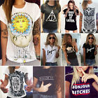 Summer Women Casual Loose Tops Blouse Short Sleeve Crew Neck T-Shirt Graphic Tee