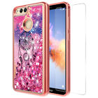 For Huawei Honor 7X Quicksand Glitter Case W/ Glass Screen Protector