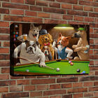 HD Canvas Print Dogs Playing Pool Billiards Oil Painting on Canvas Home Art Deco $11.04 USD on eBay