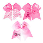 """7"""" Pink Ribbon Breast Cancer Cheer Bows With Elastic Hair Band For Girls Kids"""