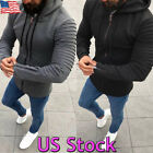 Warm Men's Long Sleeve Fleece Hoodie Zip Up Coat Hooded Swea