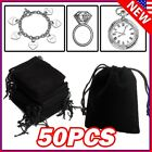 Lot Black Velvet Drawstring Velour Pouch Jewelry Baggie Ring Gift Bag Pouch Sets