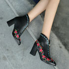 Womens Autumn Embroider High Heels Leather Pointy Toe Shoes Boots Zipper Retro