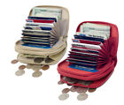 GENUINE LEATHER WOMEN'S ACCORDION ZIP WALLET CREDIT CARD COIN ORGANIZER  image