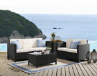 New Outdoor 3 or 4 Piece PE Rattan Garden Furniture Black/Golden Brown Table -UK