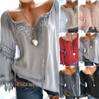 Women Sexy V Neck Long Sleeve Lace Up Shirt Casual Blouse Top Lady Loose T Shirt