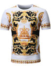 Mens Cool Tshirt Top Designer Baroque Angel Print T-Shirt Short Sleeve Cotton image