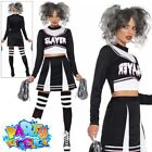 Ladies Fever Gothic Cheerleader Costume Halloween Zombie Fancy Dress Outfit