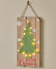 Lighted LED Wood Vintage Holiday Christmas Home Decor Winter String Wall Art