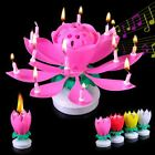 Musical Birthday Candle Romentic Play Rotating Sparkling Lotus Flower Cake Decor