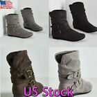 Kyпить US Womens Winter Warm Ankle Boots Ladies Fur Snow Buckle Flat Suede Slouch Shoes на еВаy.соm