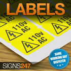 ELECTRICAL WARNING STICKERS - self-adhesive yellow labels AC 110V
