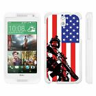 For HTC Desire 610 Hard Fitted 2 Piece Snap On Case White