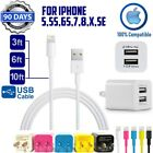3,6,10ft 8-pin cable + Double USB 2.1A Cube Wall Charger for iphone 7,8,X,SE,XR