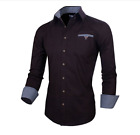 Stylish Mens Slim Fit Cotton Flannel Long Sleeve Button Down Shirts Doublju