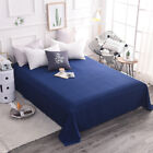Solid Color 100% Cotton Flat Sheet Bed Coverlet Comfort Bed Covers Pillowcase image