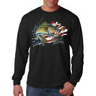 Pursuit Of Happiness Patriotic Bass Fishing USA America Long Sleeve T-Shirt Tee