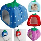 Warm Strawberry Pet Dog Cat Bed House Kennel Doggy Cushion Basket Foldable Soft
