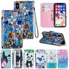 Pattern Magnetic Flip Stand Strap Card Slot Case Cover Fr Apple iPhone X 6/7Plus