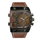 OULM Casual Men's Multiple Time Zone Military Quartz Wrist Watches Leather Strap