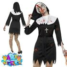 Adult Zombie Sister Nun Costume Ladies Halloween Horror Fancy Dress Outfit