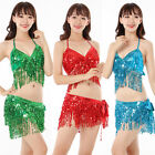 Brand New Belly Dance Costumes Shinning Sequins Tassels Top+Hip Scarf Wrap Belt