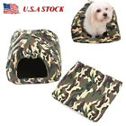 Soft Camo Pet Dog Cat Bed House Kennel Doggy Puppy Warm Cushion Basket Pad S M L