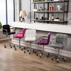 2* Bar Stool Wheel Office Chair PU Faux Leather Swivel Kitchen Dining Gas Lift