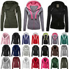 Womens Ladies Plain Coloured Zip Up Hooded Coat Hoodies Swea
