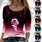 Plus Size Women's Floral Lace Splicing Blouse Long Sleeve Co