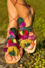 ZARA 2016 POMPOM LEATHER FLAT SANDALS  5  38 MUST HAVE SOLD OUT EVERYWHERE